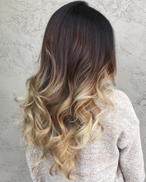 Black To Blonde Curly Ombre Hair
