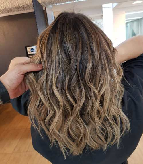 Light Brown Balayage With Dark Roots