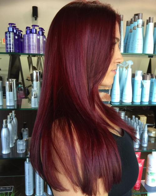 Long Straight Burgundy Hair