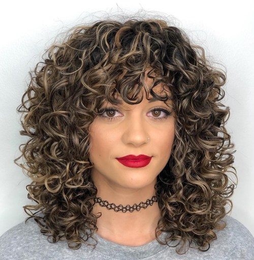 Medium Curly Hair With Curly Bangs