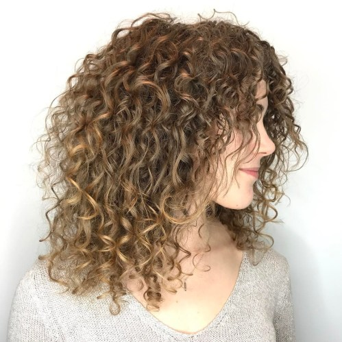 Medium Curly Light Brown Hairstyle