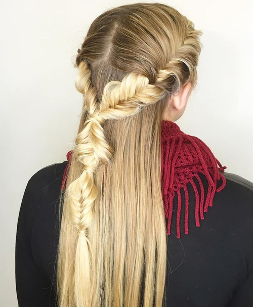 creative half up hairstyle with fishtail braid