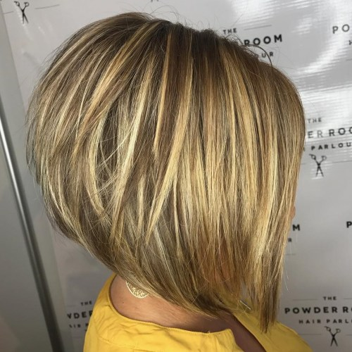 Layered Brown Bob with Golden Blonde Highlights