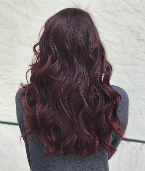Solid Burgundy Hair Color For Brunettes