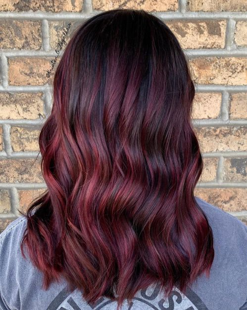 Burgundy Hair With Scarlet Highlights