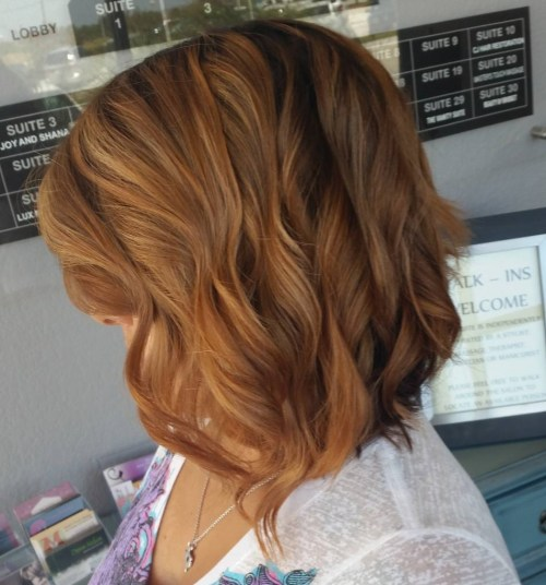 caramel brown wavy lob