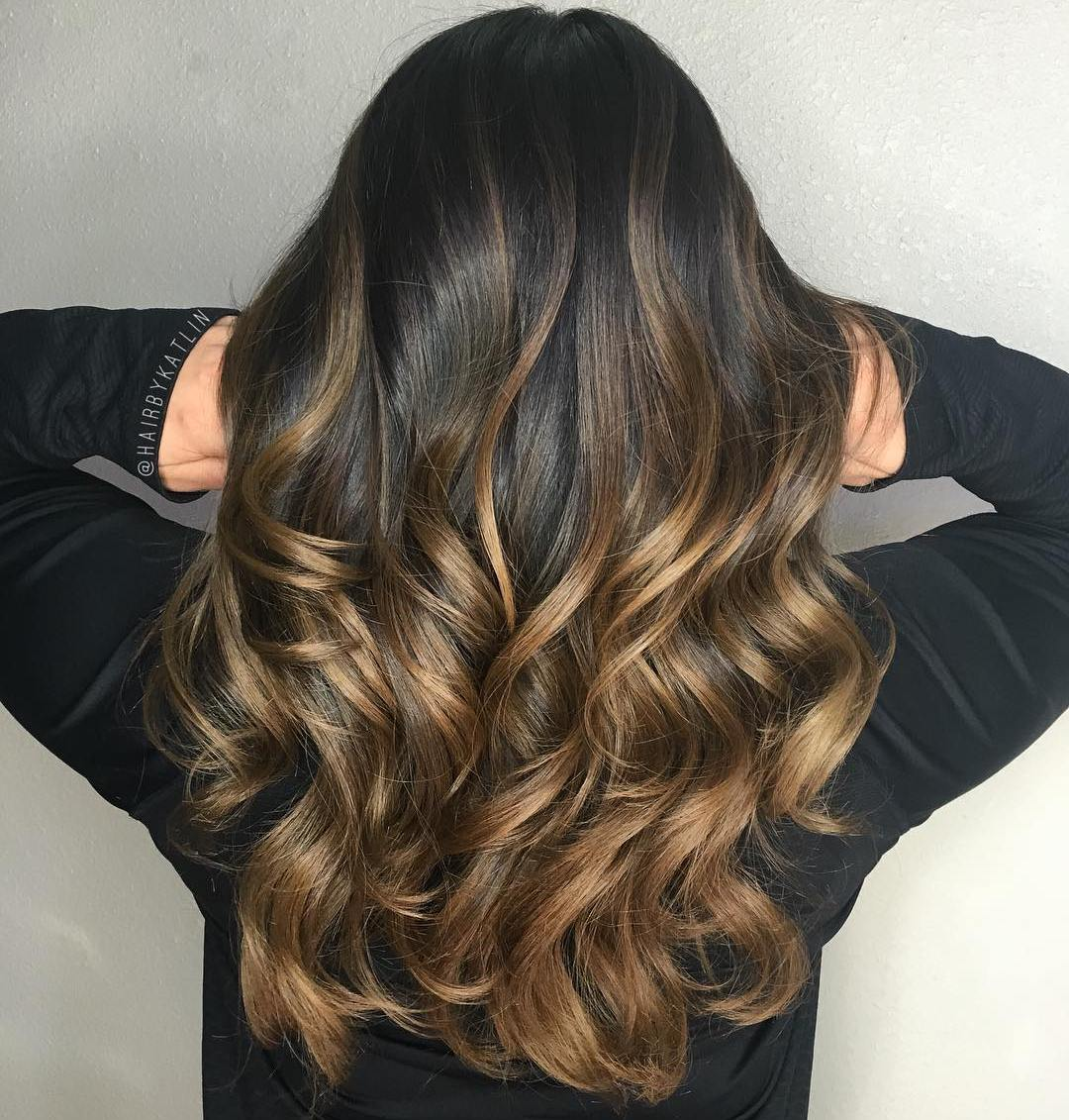 Hair brown with caramel ombre catalog photo