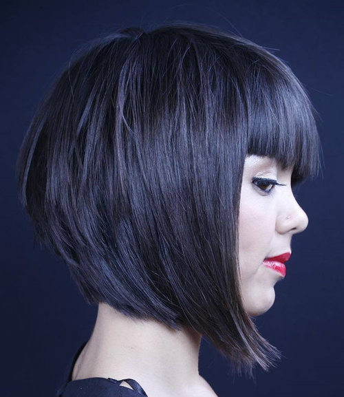 Layered Bob With Straight Bangs