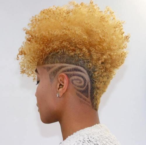 Natural Blonde Mohawk with Shaved Design