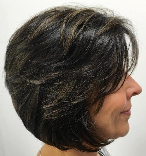 Layered Brunette Bob For Mature Women