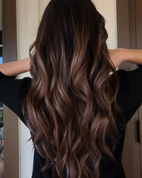 Long Wavy Chocolate Balayage Hair