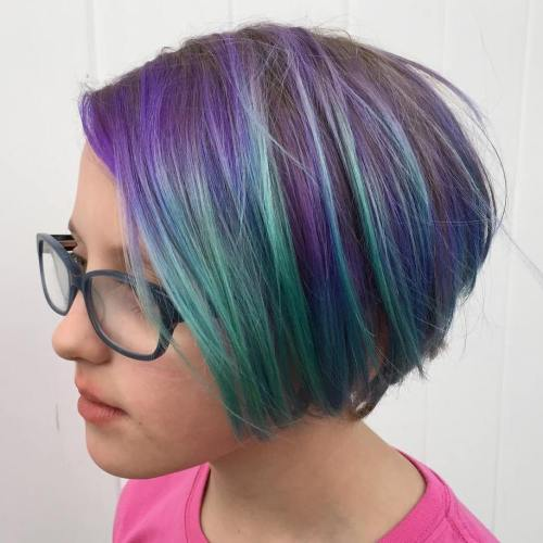 Pastel Purple Bob With Green Highlights