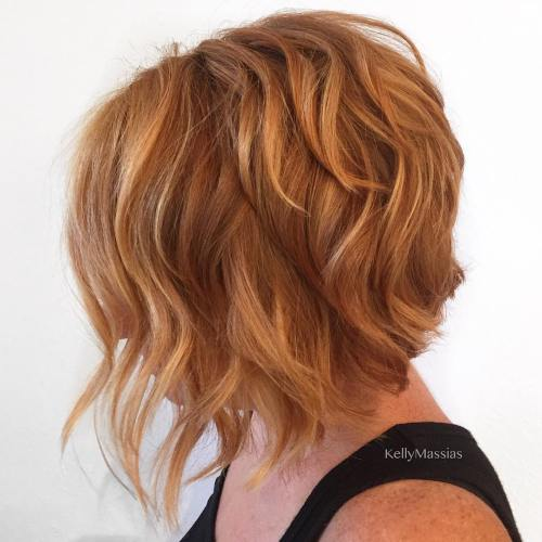 Red Layered Bob With Highlights
