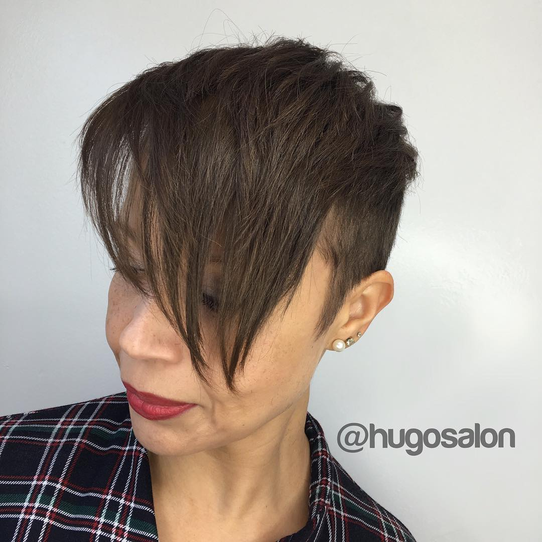 Short Pixie With Long Bangs For Mature Women