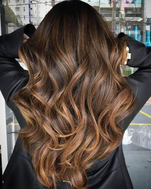 Warm Caramel Brown Balayage