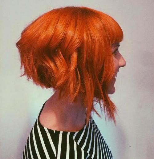 shaggy chin-length red bob