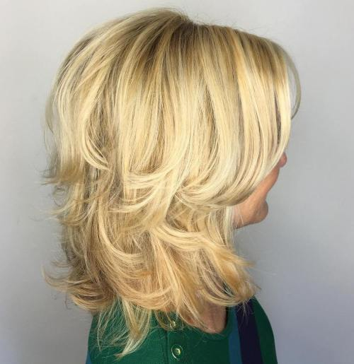 50+ Blonde Layered Hairstyle With Side Bangs