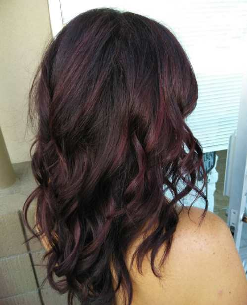 Black Hair With Maroon Highlights