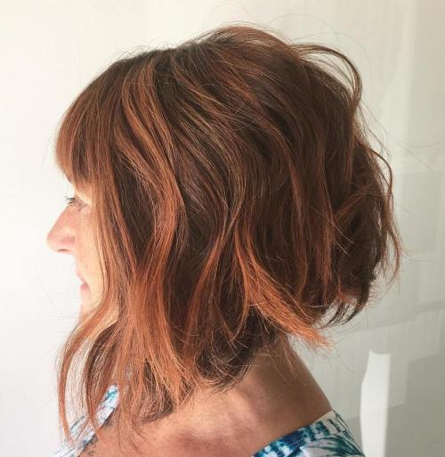 Copper Red Choppy Angled Bob