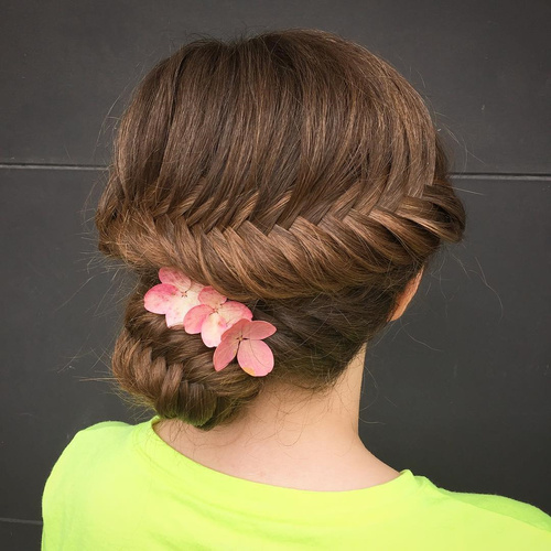 fishtail updo with hair flowers