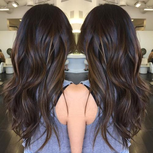Black Hair With Warm Brown Highlights