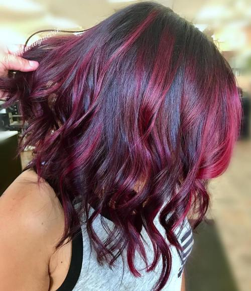 Black Lob With Bright Burgundy Highlights