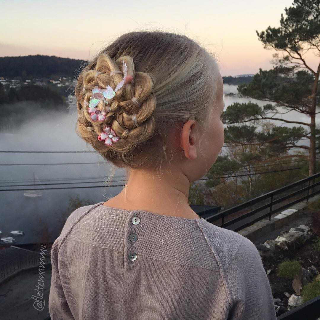 Braided Rosette Updo For Girls