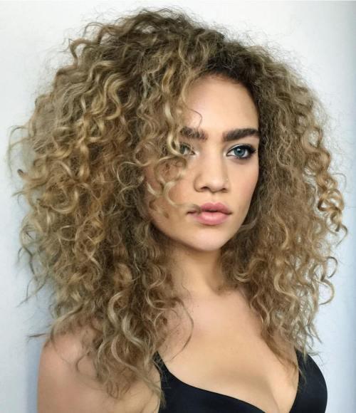 Medium Layered Curly Bronde Hairstyle