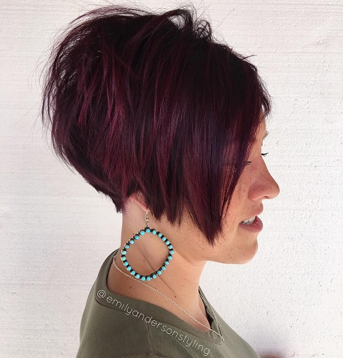 Short Layered Burgundy Bob