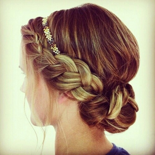 dutch headband braid and a bun