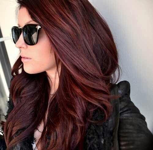 Black to burgundy hair color