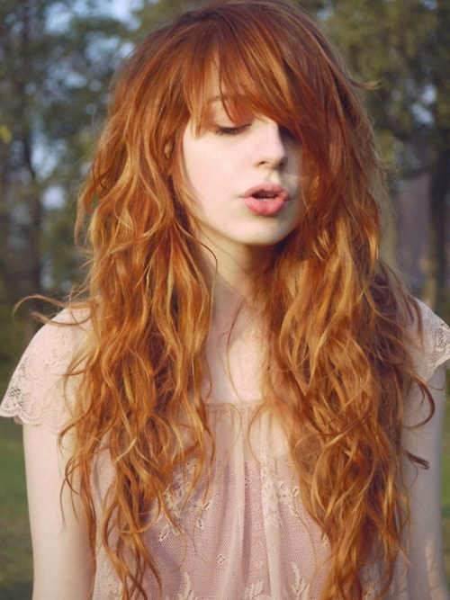 long red curly hairstyle