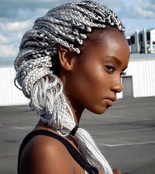 silver blonde long box braids