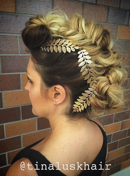 Mohawk updo with messy fishtail braid