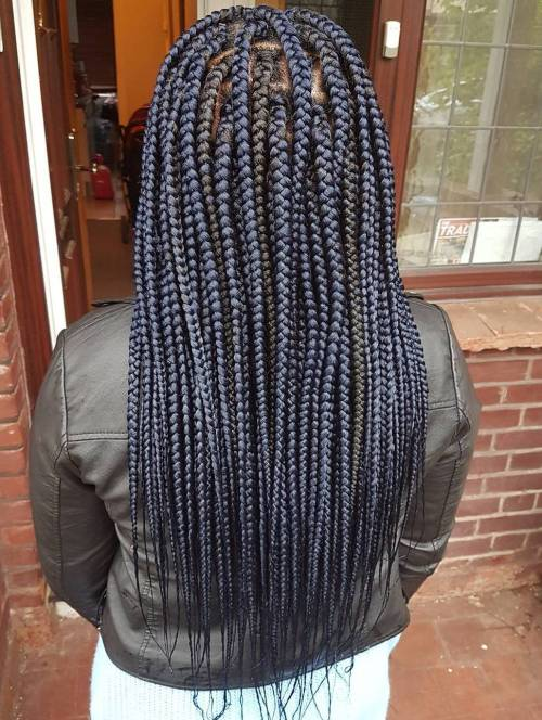 Long Dark Blue Box Braids