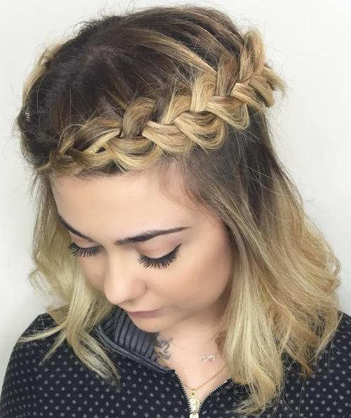 70 darn cool medium length hairstyles for thin hair medium half updo with crown braid urmus Gallery