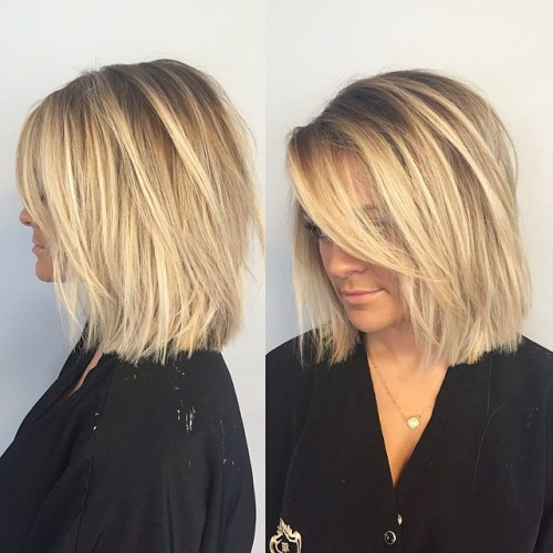 Choppy Blonde Lob