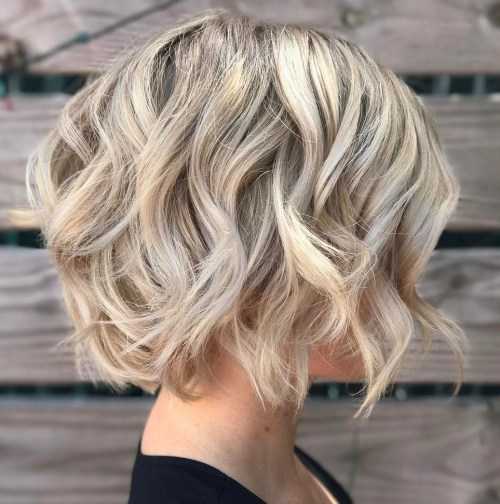 Blonde Bob Haircut With Waves For Thin Hair