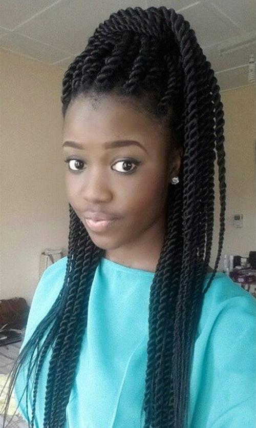 black twists pony hairstyle