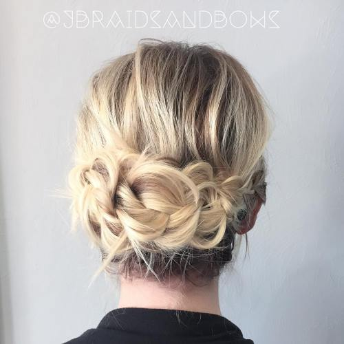 60 updos for thin hair that score maximum style point messy braided updo pmusecretfo Image collections
