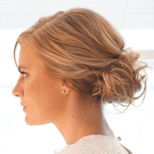 Messy Curly Bun For Shorter Hair