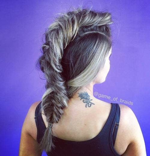 messy fishtail mohawk braid