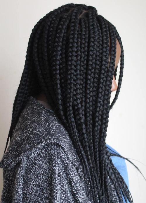Box Braids With Feather Tips