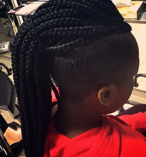 mohawk with long box braids
