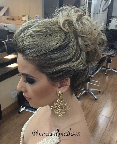 Curly Messy Bun Updo