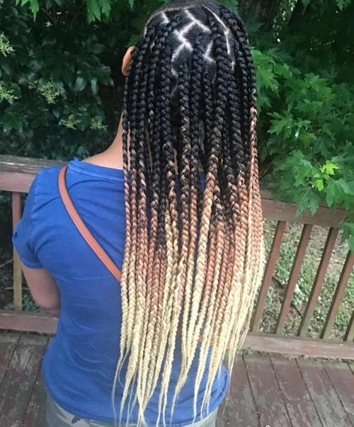 Long Black To Blonde Box Braids