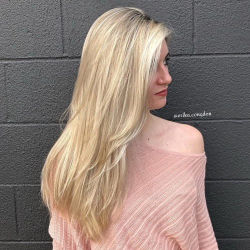 Long Blonde Hairstyle With Layers