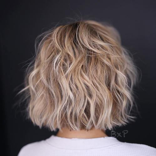 One-Length Choppy Wavy Bob