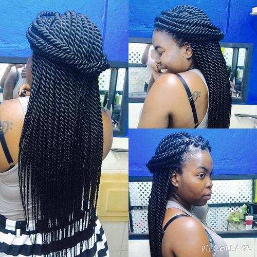 black twists half up hairstyle