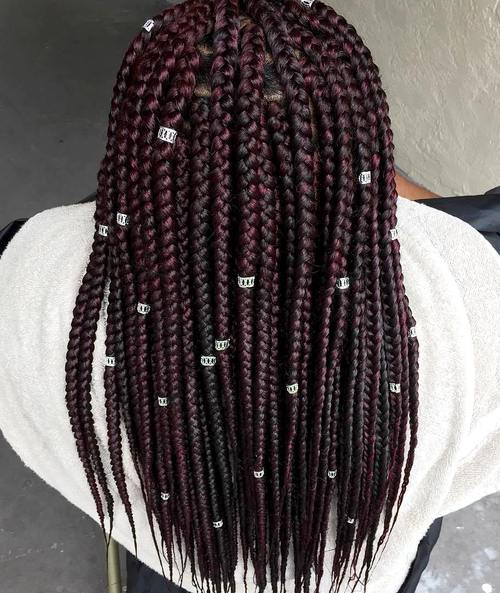 burgundy box braids with beads
